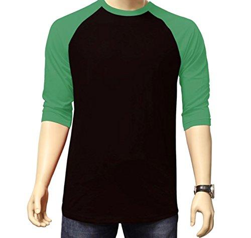 Men's Plain Athletic 3/4 Sleeve Baseball Sports T-Shirt Raglan Shirt S-XL Team Jersey Black Kelly Green XL