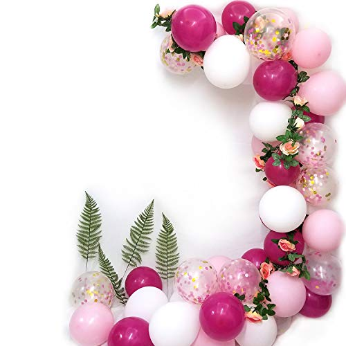 Girls Birthday Party Balloons-Rose Red Pink Withe Latex Balloons and Confetti Balloons For Barbie Girls Birthday Bride Wedding Party Supplies]()