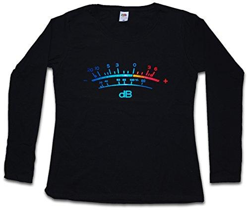 DB Meter II Women Long Sleeve T-Shirt Decibel Music Bass Retro Radio Cassette Tape Record Vinyl Stereo Music Recorder Studio Recording Producer Designer Shirt Sizes XS - 2XL Black