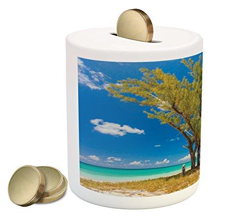 Lunarable Beach Piggy Bank  Stunning Image Of Some Trees Seacoast Ancient Archaic Idyllic Beach Scenery  Printed Ceramic Coin Bank Money Box For Cash Saving  Blue Green Cream