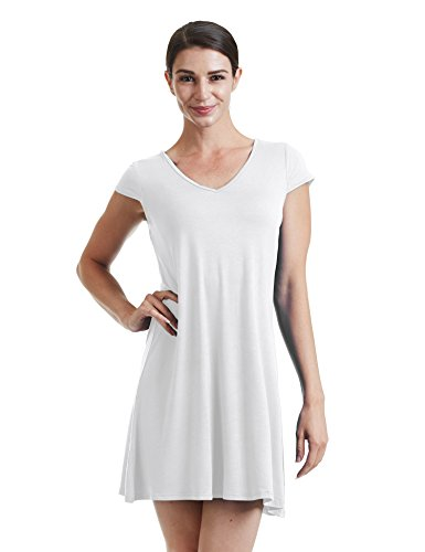 Come Together California CTC WDR1068 Womens V Neck Cap Sleeve T Shirt Dress L - T-shirt Cap Sleeve V-neck