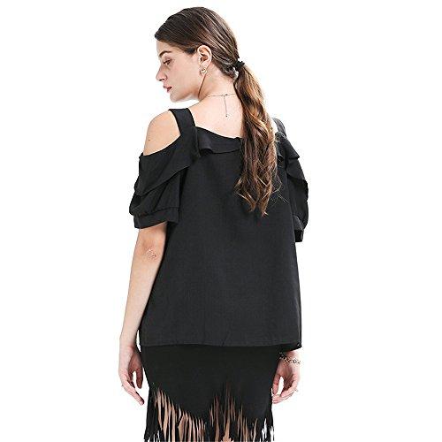 A moda Cotone shirt irregolare Collare estate estate Maglietta T donna T shirt T Scanalato Camicetta shirt Maniche Maglietta Corte Black Spalle Smx In 4qFxXUfwx