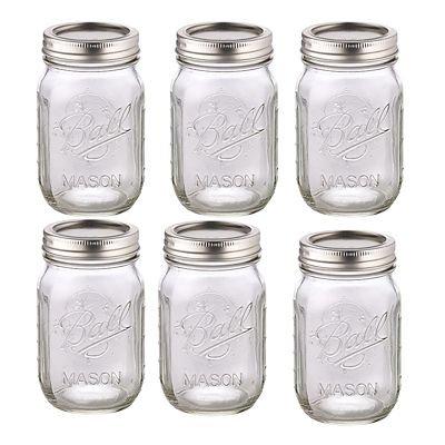 BALL MASON JARS - Barattoli di vetro per conserve - da 490ml - bocca regolare con inserto di ricette - confezione da 6 1440006100