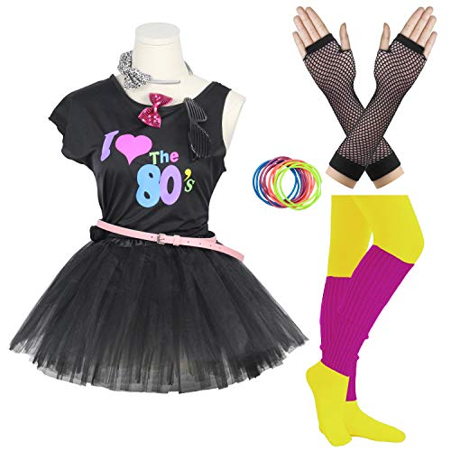FUNDAISY Gilrs 80s Costume Accessories Fancy Outfit Dress for 1980s Theme Party Supplies (Black, 7-8 Years) ()