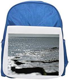 Mochila azul con estampado de piedras metálicas y agua, mochilas de niños, mochilas bonitas, mochilas pequeñas, mochila negra, mochila negra fría, ...