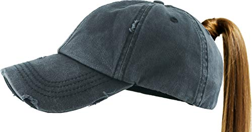 - PONY-001 BLK Ponytail Messy High Bun Headwear Adjustable Cotton Trucker Mesh Hat Baseball Cap