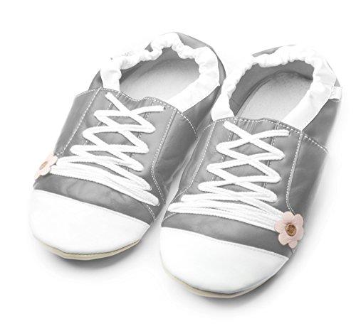 Jinwood designed by amsomo Verschiedene Modelle - Barfußschuhe - Hausschuhe für Erwachsene - Echt Leder - Damen - Herren - Mini Shoes DIV. Groeßen 36/37-44/45 sportive flower grey