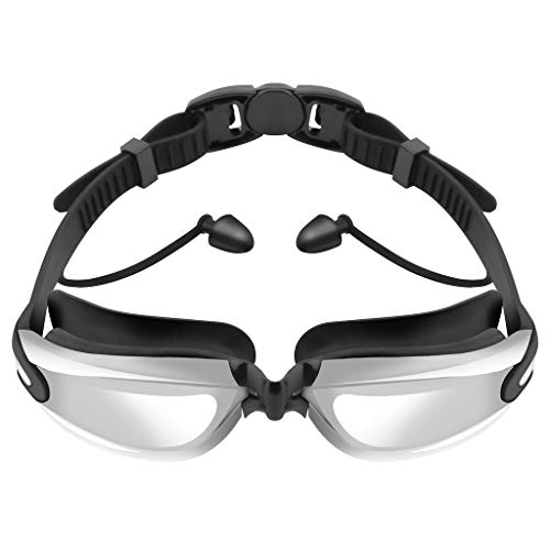 ErYao Swim Goggles, Swimming Goggles, Swim Glasses with Earplugs, No Leaking Anti Fog UV Protection for Men Women Youth Kids, Shatter-Proof, Watertight/Clear Lens (Black)