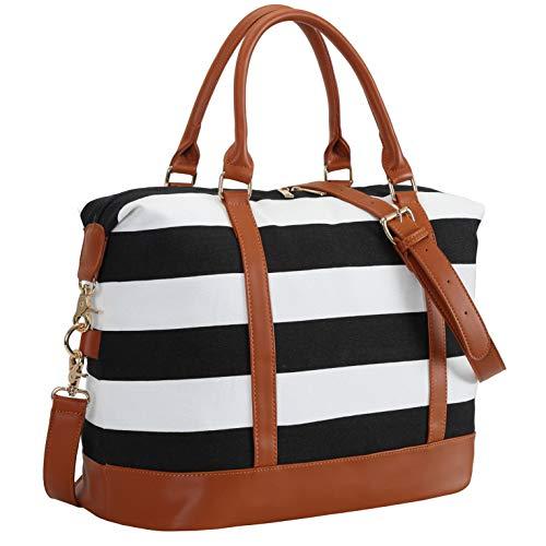 CAMTOP Women Ladies Weekender Travel Bag Canvas Overnight Carry-on Duffel Luggage Tote Bag (Big Stripe - Black) (Tote Duffle Bag Luggage)