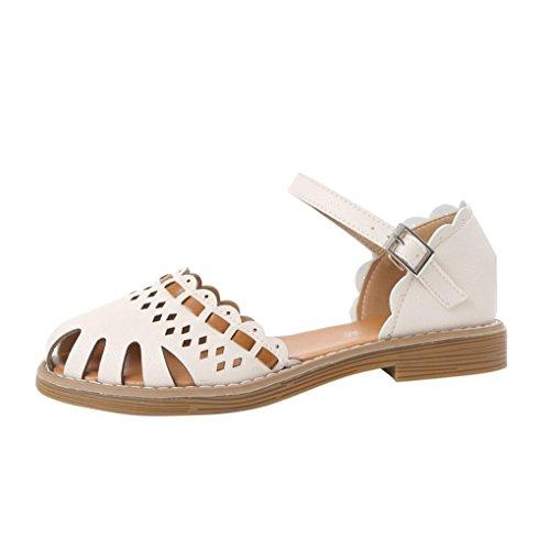 JIANGfu Femme Sandales Été Chaussures Plat Mode Bohème Chaussures à Talon Plat Femmes Creux Respirant Non-Glissement Sangle de Boucle Sandales Rome Pantoufles Beige 5eQ5q