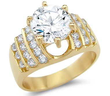 Amazon Solid 14k Yellow Gold Solitaire CZ Cubic Zirconia