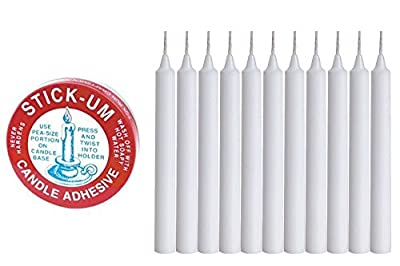 White Taper Candles 4 Inch Tall X 1/2 Inch Thick Burn 1.1/2 Hour With Fox Run Candle Adhesive Hold The Bottom of Candle Firm