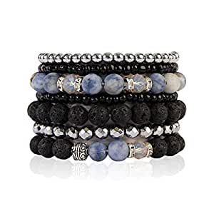 MYS Collection Lava Rock Essential Oil Diffuser Stretch Bracelet - Beaded Multi Strand Natural Stone Statement Bangles (Blue Sodalite)