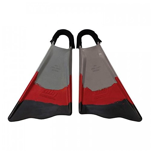 Ally Clark Little 12.5+ Swim Fins & Tethers, X-Large, Grey/Red/Black
