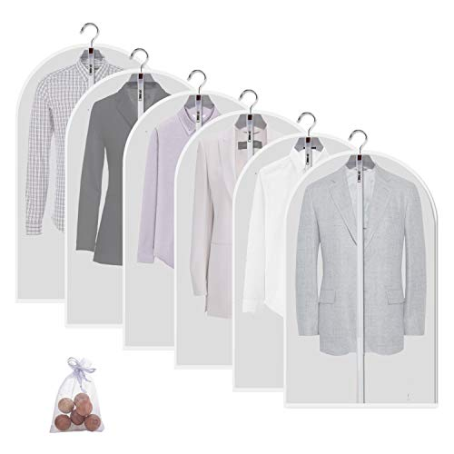 (allhom dust Proof Garment Bags - Set of 6 pcs 40 inch Hanging Clothing Storage Bags and Cedar Balls,for Jacket, Shirt, Sweater, Suit)