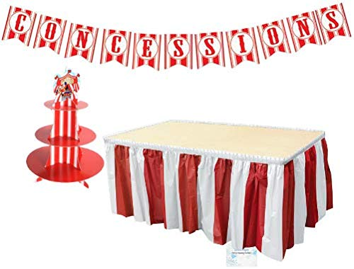 ies - Banner Tablecloth and Cupcake Stand - Perfect Carnival Party Decorations - Circus Party Supplies ()
