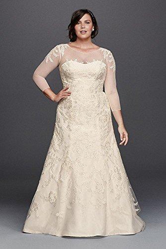Lace Oleg Cassini Plus Size Wedding Dress With Sleeves Style 8cwg704