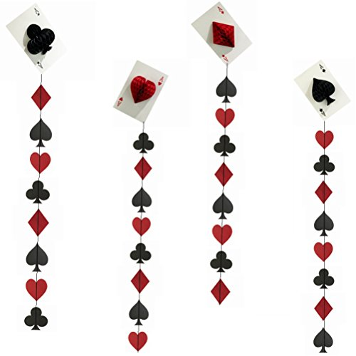 Casino Paper Garland and Poker Card Hanging party supplies and decorations (black,red, pack of -