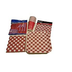 Red Gingham Party Supplies – Red Checkered Tablecloth – Party Plates Napkins Cups Utencils – Hassle Free Clean Up – Red Gingham