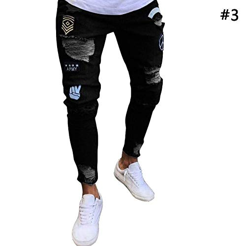 Stretch Uomo Jeggings Vintage Nero Denim Fashion Casual Skinny Da Jeans Holes Haidean Moderna Pantaloni Ripped Pants 6IHtfw