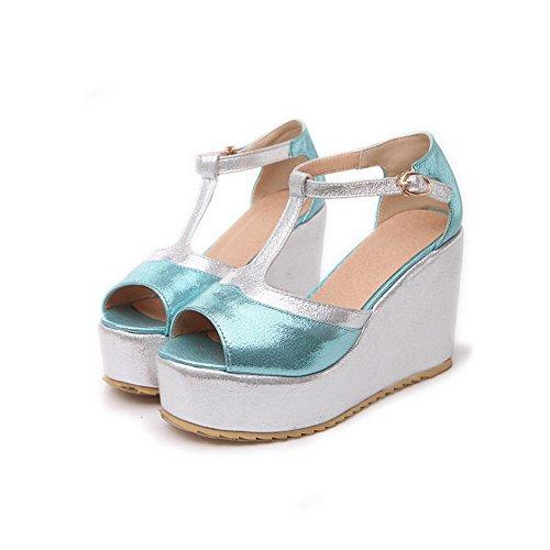 Amoonyfashion Donna Open Peep Toe Sandali Con Zeppa Tacco Alto Con Cinturino A T E Colori Assortiti Blu