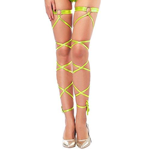 Haoohu Women's Gothic Shiny Metallic Leg Wraps Sexy One Pair O-ring Leg Wraps for Raves Dancing Costumes Club Wear (Fluorescent green)