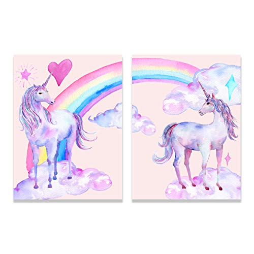 Purple Verbena Art Rainbow Unicorn Pictures for Children Walls Décor Watercolor Painting Artwork Canvas Print Wall Art for Kids Girls Bedroom Decoration Daughter Gifts,Framed 2 Pcs of 12x16 Inches
