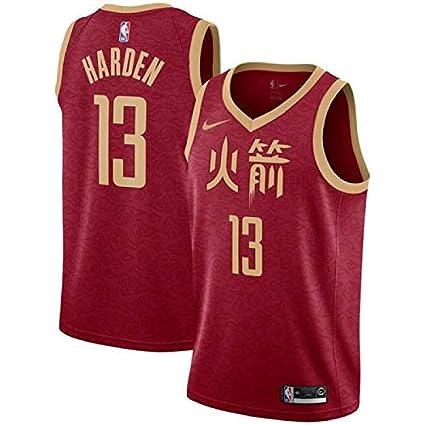 Stile di Abbigliamento Sportivo Swingman Ricamata Lalagofe James Harden Houston Rockets #13 Red City Edition Chinese Basket Jersey Maglia Canotta L, City Edition Chinese