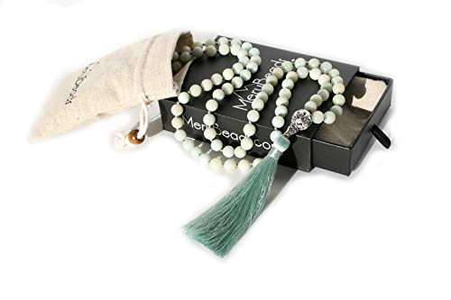 Premium Mala Beads Necklace - Amazonite Mala Necklace - Japa Mala - Buddha Necklace - Buddhist Prayer Beads - Tassel Necklace - 108 Mala Beads Meditation