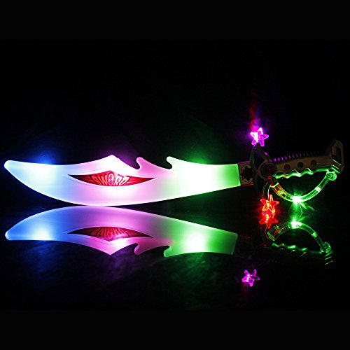 Fun Central I519, 1 Pc, 23 Inches Multicolor LED Pirate Sword, Pirate Sword for Kids, LED Light Up Pirate Sword, Pirate LED Sword Toy, LED Light Up Sword]()