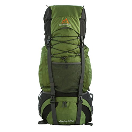 Mission Peak Gear Alpine 3600 60L Internal Frame Hiking Backpack (Army Green)