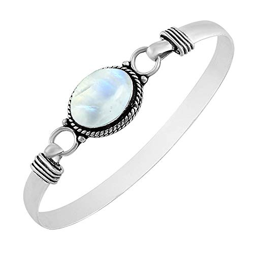 925 Silver Plated 9.10ct, Genuine Rainbow Moonstone Bangle Made by Sterling Silver Jewelry (Cuff Bracelet Moonstone)