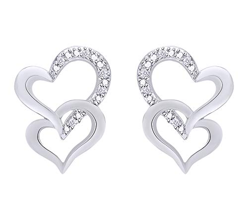 Round Cut Natural Diamond Accent Double Heart Stud Earrings in 14K White Gold Over Sterling Silver ()