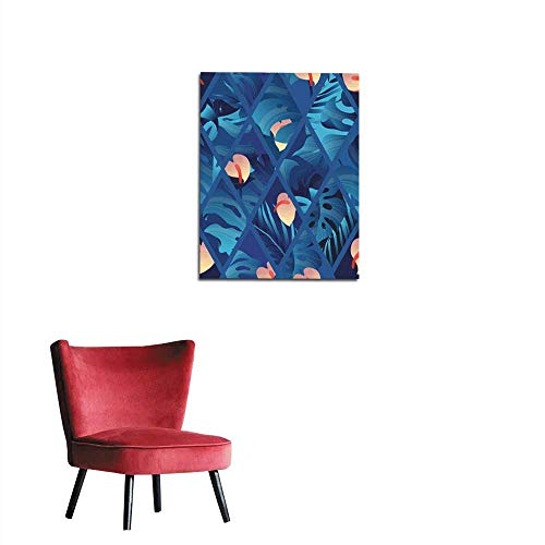 longbuyer Photographic Wallpaper Tropical Plant Seamless Pattern Heliconia Palm Anthurium and Split Leaf Philodendron in Blue Tone Inside Rectangle Shape Mural 20