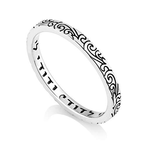 (Marina Jewelry 925 Sterling Silver Ring,Black Enamel Filigree,Women Men Engraved I Am My Beloved's)
