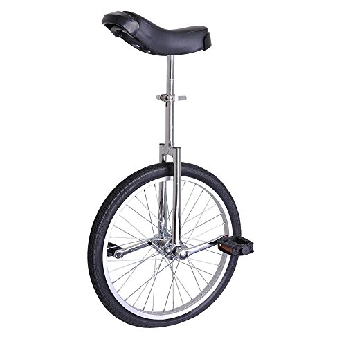 GHP Silver Manganese Steel 20'' Wheel Skid-Proof Tire Aluminum Alloy Rim Unicycle by Globe House Products