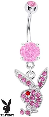 316L Surgical Steel Pink Bunny Rabbit Dangle Navel Bar Belly Ring Play Boy