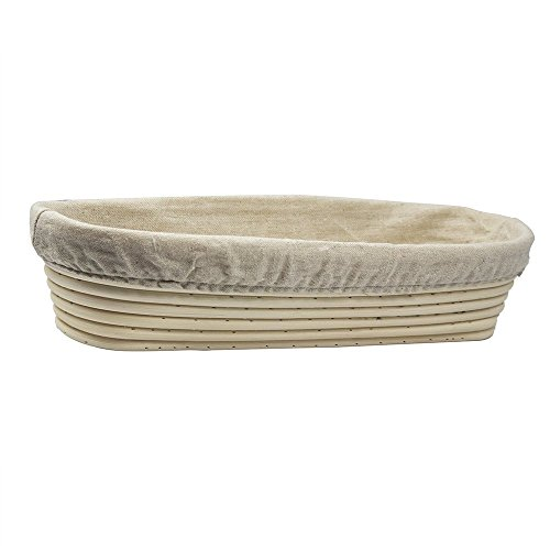 11 Inch Oval Oblong Slim Brotform Banneton Proofing Basket Bread Bowl for Baking Dough with Rising Pattern (Bonus Linen Cover) ()