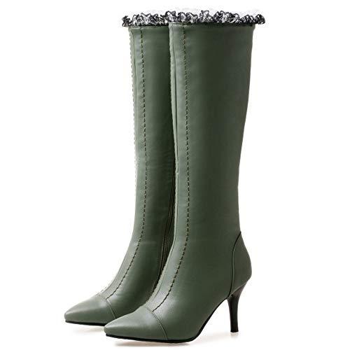 Haut Vert Talon Femmes Chaussures Genou Taoffen Aiguille Bottes Mode Zipper aO6Xgq