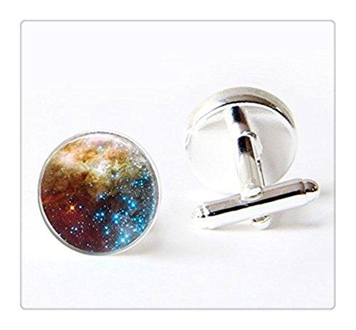 Art Cufflinks (Spiral Galaxy Cufflinks Nebula Outer Space Planet Blue Stars Astronomy Nebula Art Cuff Links)