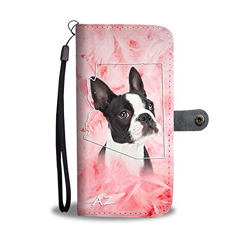 Lovely Boston Terrier Printed Leather Wallet Case for Samsung, iPhone, LG, Goole Pixel, Huawei, HTC, Motorola, Xiaomi- Dog Printed Magnetic flip Cover with Card Slots Wrist Strap -Arizona State
