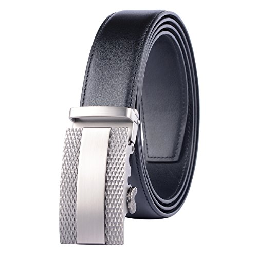 Men's Genuine Leather Belt with Automatic Buckle Cowhide Ratchet Belt for Man,Black 3,Suitable for 27
