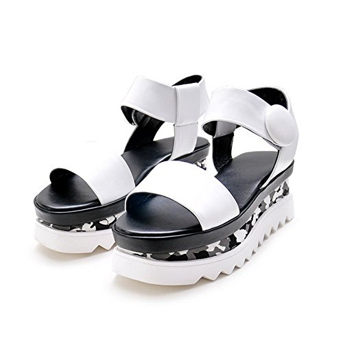 Aalardom Mujer-kitten-heels Soft Material Solid Hook-and-loop Open Toe Sandals White
