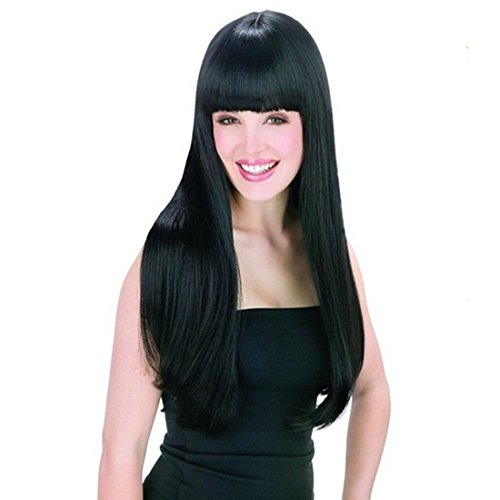 Price comparison product image AGPtek New style black Fashion Long straight women's Girl full Hair Wig cosplay