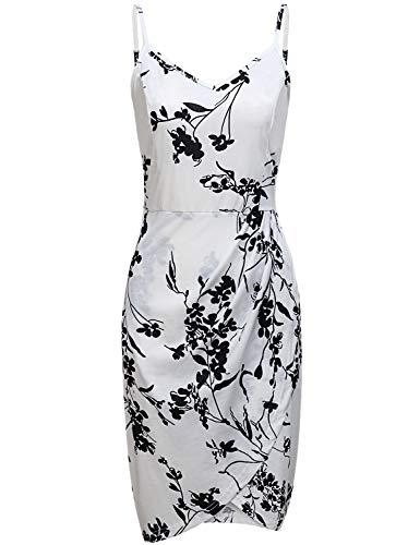 MOQIVGI Slip Dress,Ladies Deep V Spaghetti Strap Bodycon Ruched Tulip Hem Floral Print Midi Dresses for Women Casual Summer Going Out Cocktail Beach Club Wear White XX-Large