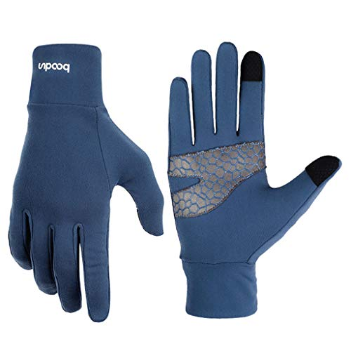Unisex Winter Gloves, Warm Thermal Gloves Running Gloves Cold Weather Gloves Driving Riding Cycling Gloves Outdoor Sports Gloves for Men and Women (Navy, L)