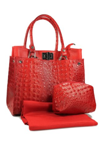 Belli - Bolso de asas de cuero para mujer rojo rojo