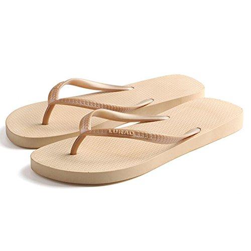 Verano Sandalias Piso de verano para mujer con sandalias de color puro Zapatillas de deporte casuales Zapatillas de playa planas antideslizantes Color / tamaño opcional ( Color : 03 , Tamaño : EU36/UK 01