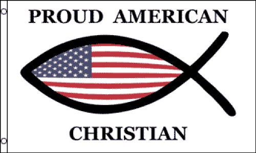 (Proud American Christian Flag 3x5 ft poly)