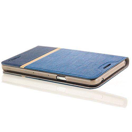 Funda iPhone 7 [zanasta Designs] Cubierta Carcasa Flip Case Tapa Delantera con Billetera para Tarjetas Protectora de Alta Calidad, Cierre Abatible Negro Azul